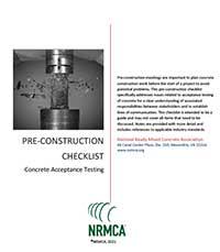 NRMCA Pre-Construction Checklist – Concrete Acceptance Testing